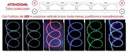 Tubo luminoso 2 fili LED verticale Ø 13 mm 10 metri controller multicolor - WIM 4502006X