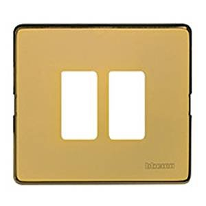 MAGIC - PLACCA 2P SCATOLA TONDA OTTONE - BTI 500/2A/OT