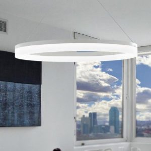 Lampadario Moderno Anello Bianco Alluminio Acrilico - FAN EUROPE LED-SATURN-S80