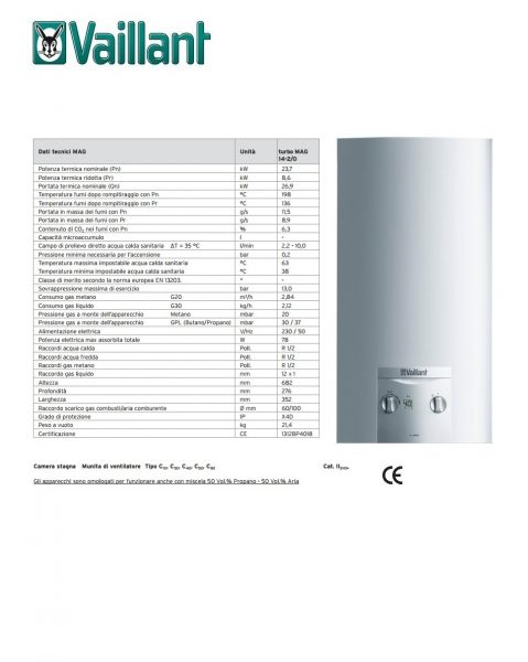 Vaillant 0010016029 Scaldabagno Turbomag 14-2/0-5 H Erp - VAILLANT 0010016029